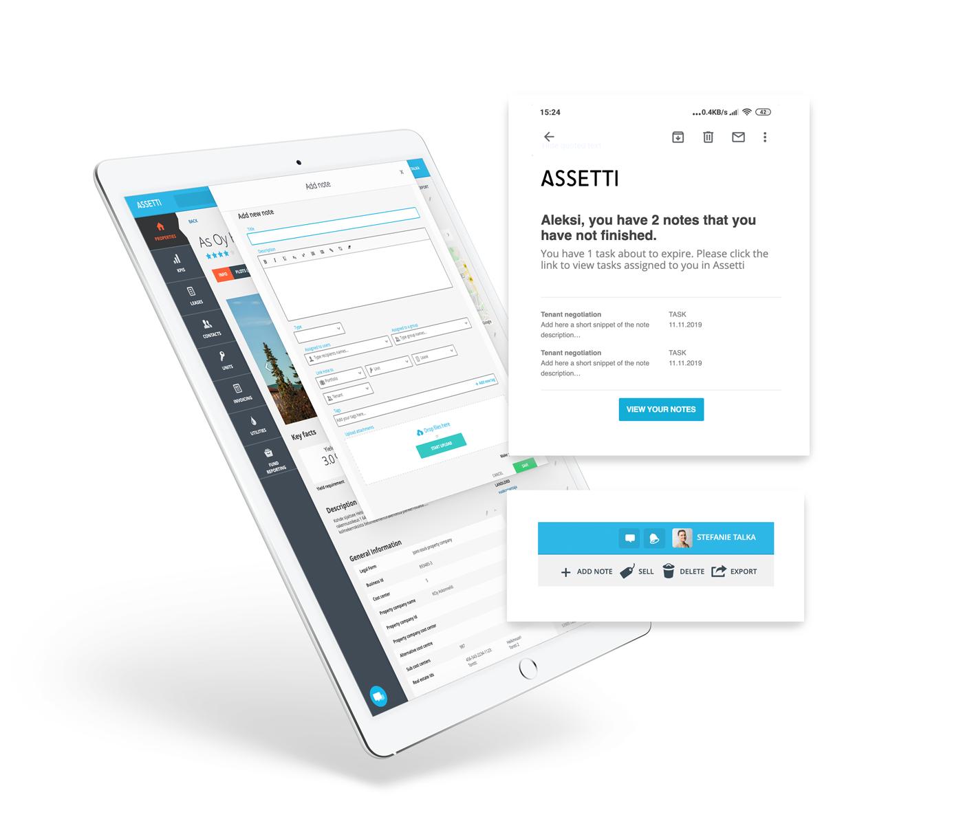 Notiz Funktion in Assetti für besseren Mieterservice
